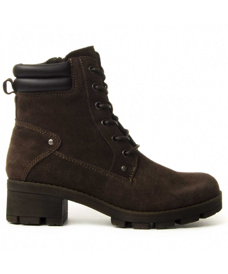 Image for Purapiel Lace-Up Heeled Boot in Brown