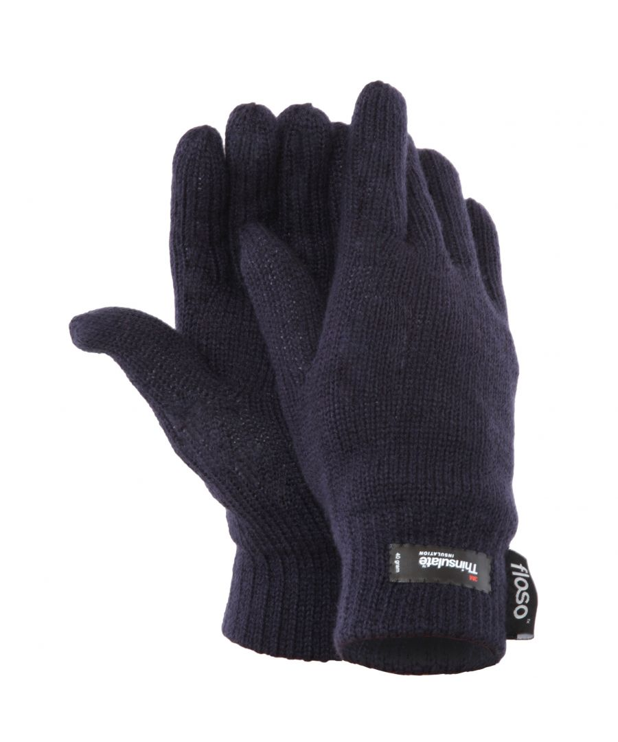 Image for FLOSO Ladies/Womens Thinsulate Thermal Knitted Gloves (3M 40g) (Navy)