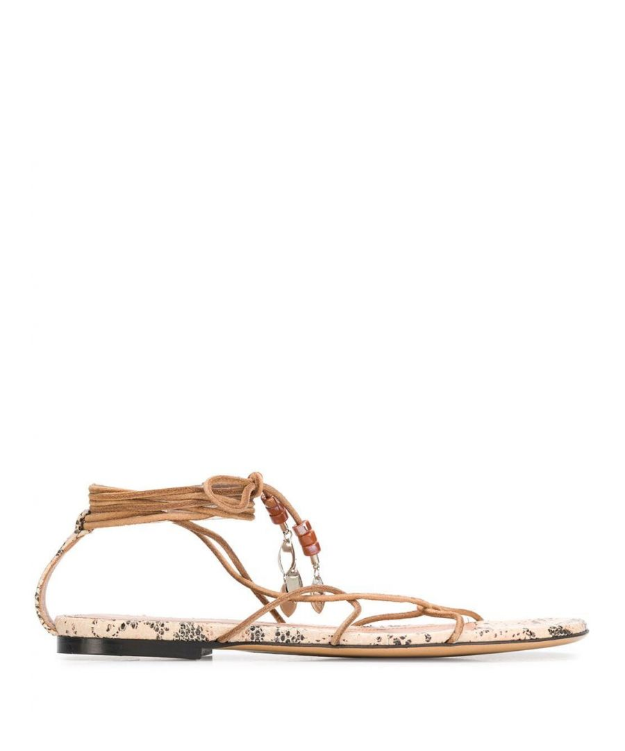 Image for ISABEL MARANT WOMEN'S SD058620E007S23NL BEIGE LEATHER SANDALS