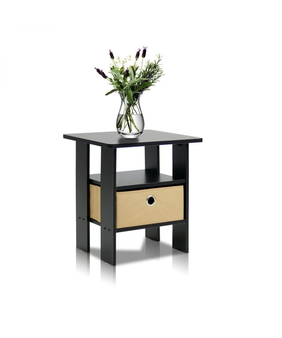 Image for Furinno Andrey End Table Nightstand with Bin Drawer - Espresso