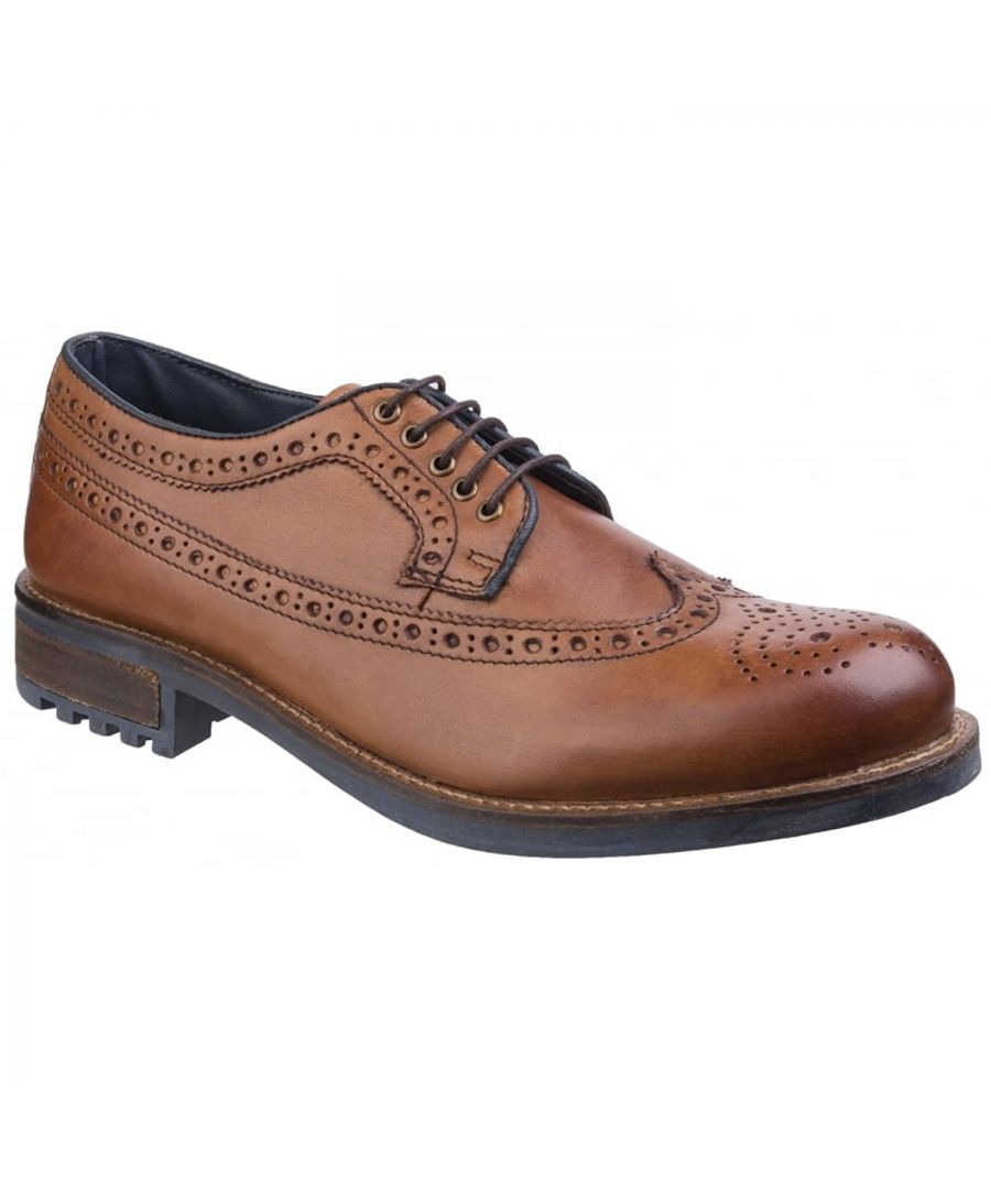 Image for Cotswold Mens Poplar Brogue Leather Dress Shoes (Tan)