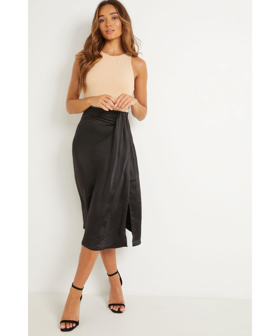 Image for Black Satin Split Midi Skirt