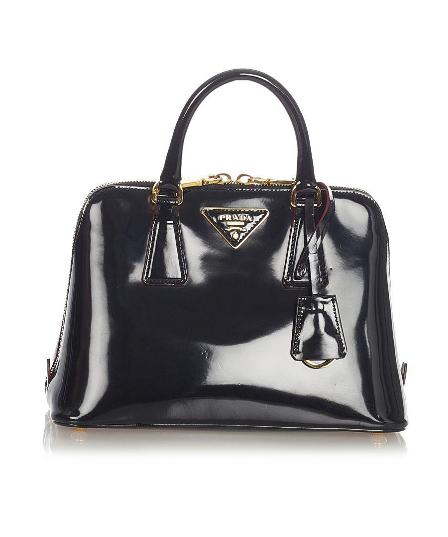 Image for Vintage Prada Patent Frame Handbag Black