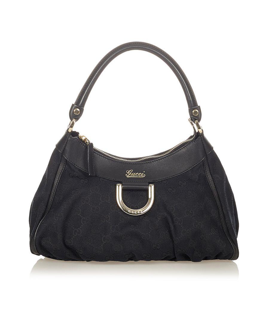 Image for Vintage Gucci GG Canvas Abbey D-Ring Shoulder Bag Black