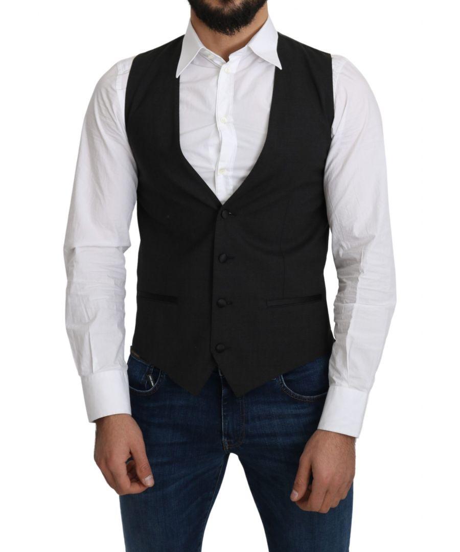 Image for Dolce & Gabbana Gray Wool Elastan Formal Coat Vest