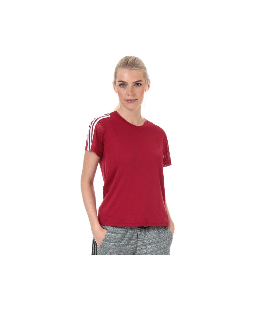 Image for Women's adidas 3-Stripes Mesh Sleeve T-Shirt in Burgundy