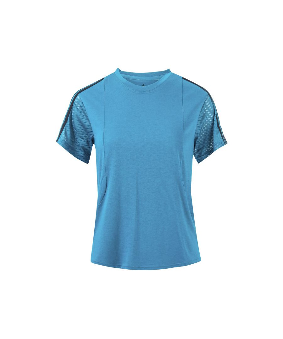 Image for Women's adidas 3-Stripes Mesh Sleeve T-Shirt in Teal