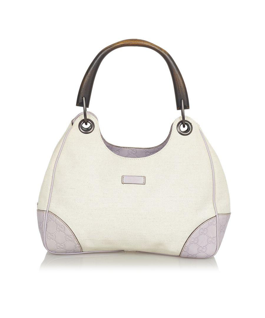 Image for Vintage Gucci Bamboo Canvas Handbag White