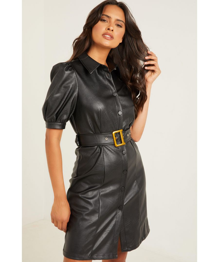 Image for Black Faux Leather Bodycon Dress