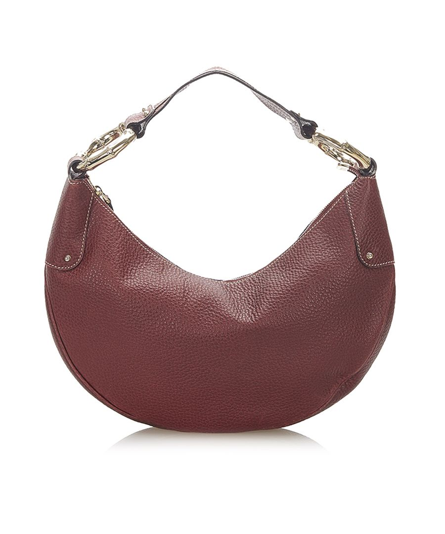 Image for Vintage Gucci Bamboo Ring Leather Hobo Bag Red