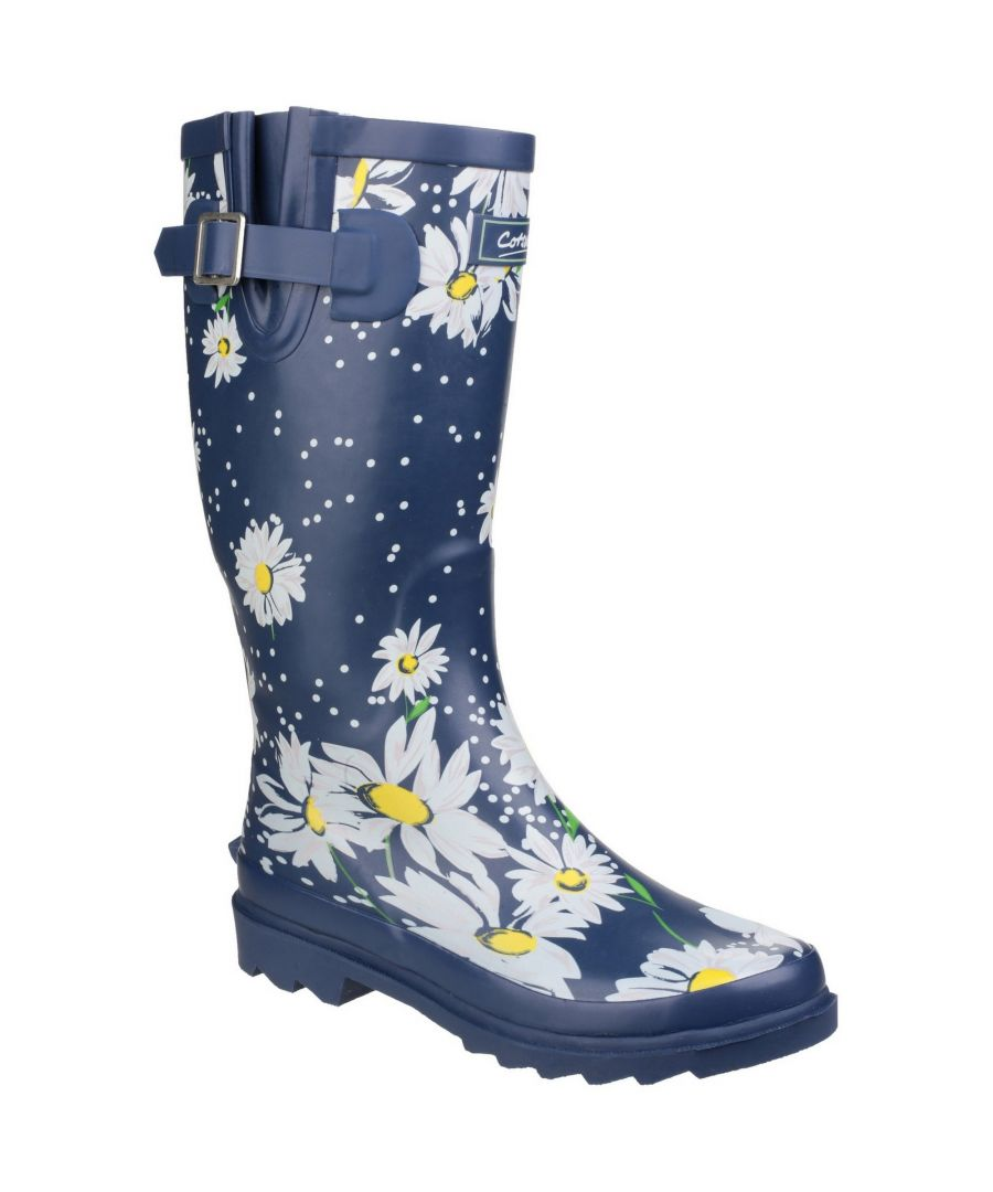 Image for Cotswold Womens/Ladies Burghley Pull On Patterned Wellington Boots (Daisy)
