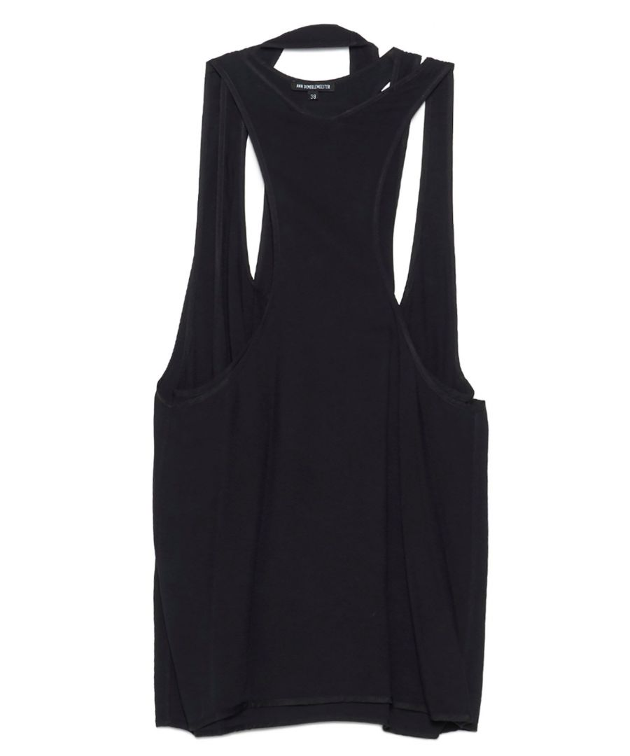 Image for ANN DEMEULEMEESTER WOMEN'S 20011842155099 BLACK VISCOSE TANK TOP