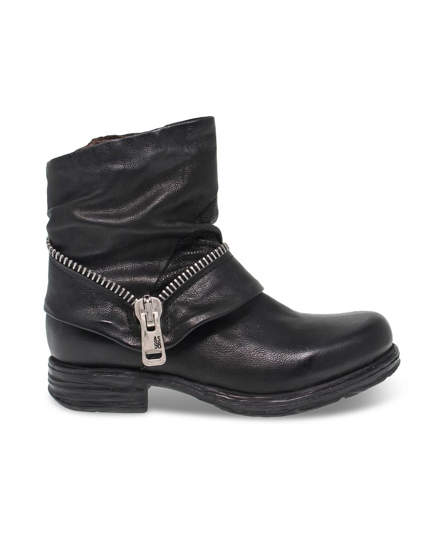 Image for A.S. 98 WOMEN'S 259263 BLACK LEATHER ANKLE BOOTS