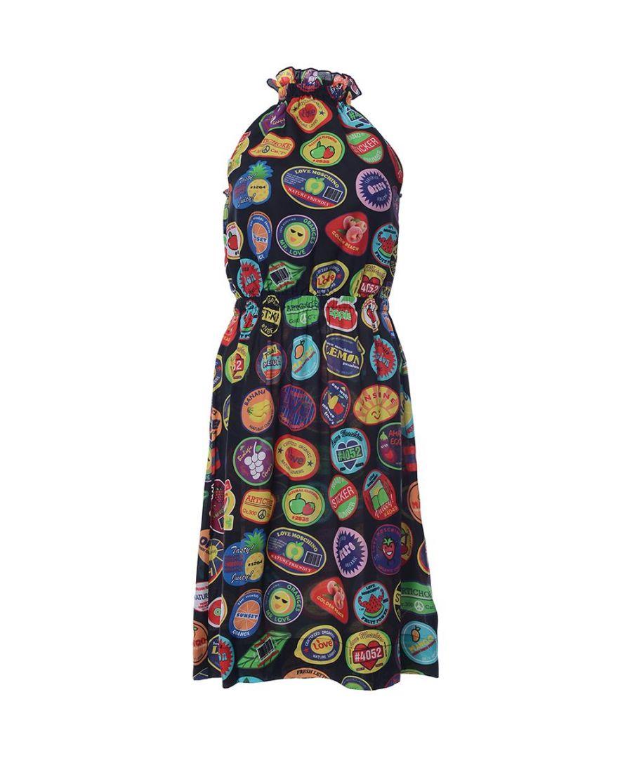 Image for Love Moschino ABITO  CON FIOCCO ST ALLOVER BOLLI-STICKERS/BLACK in Multicoloured