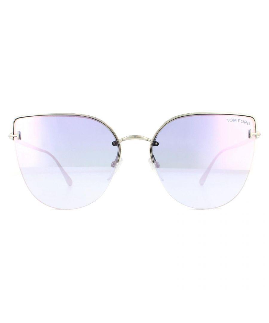 Image for Tom Ford Sunglasses Ingrid-02 FT0652 16Z Shiny Palladium Blue Gradient