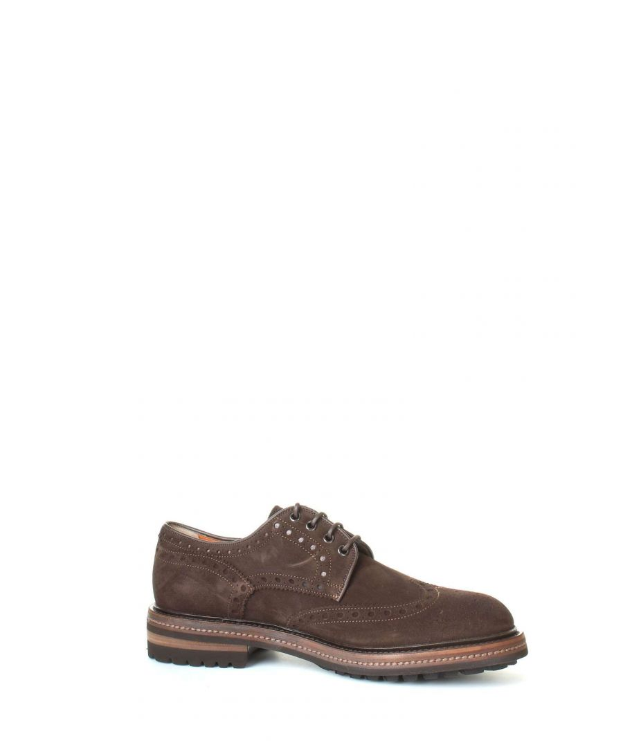 Image for SANTONI MEN'S MGMN11663JL2ISYWT50 BROWN SUEDE LACE-UP SHOES