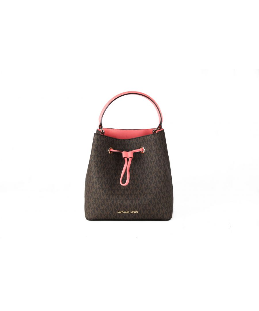 Image for Michael Kors Suri Medium Leather Bucket Messenger Drawstring Hobo Handbag (Grapefruit Signature)