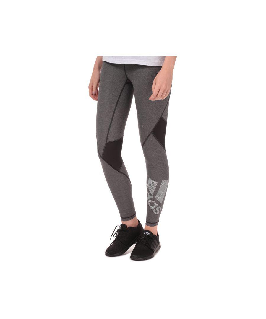 Image for Women's adidas Alphaskin Badge Of Sport Leggings in Black Marl