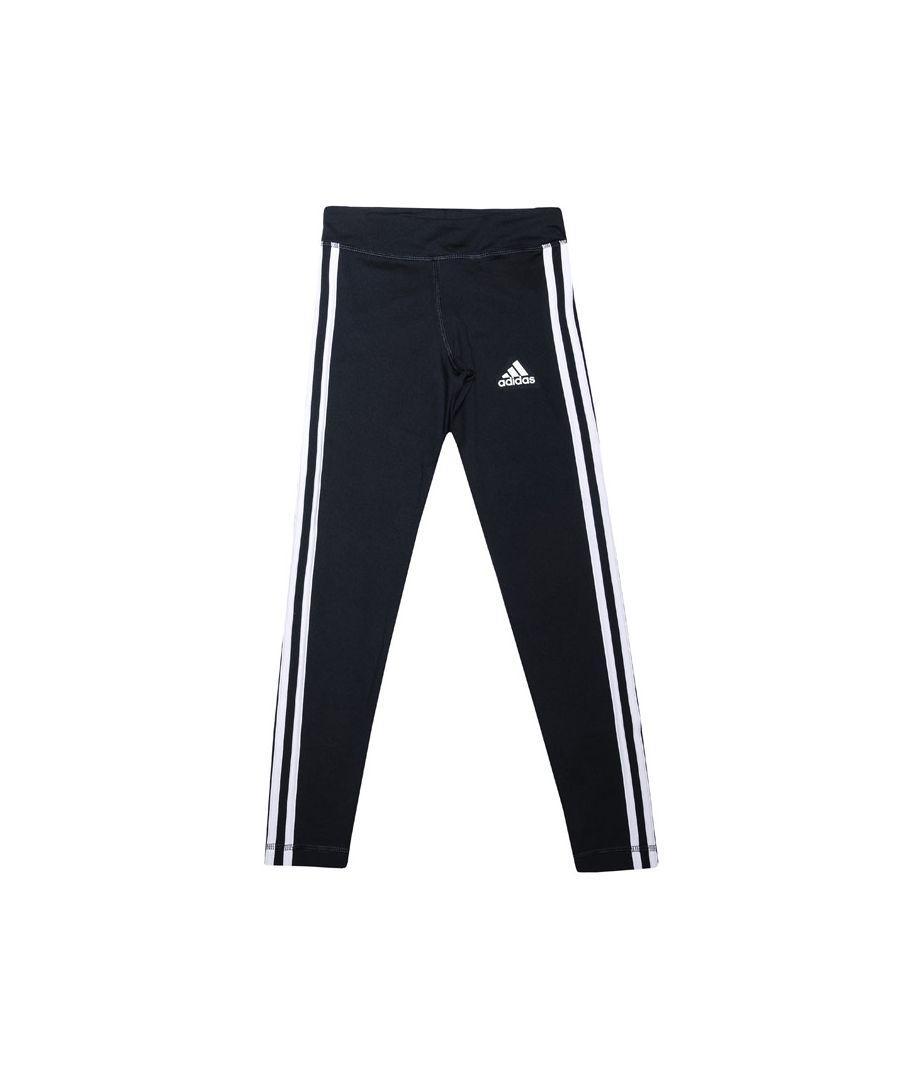 Image for Girl's adidas Junior TE 3-Stripes Leggings Navy-White 9-10in Navy-White