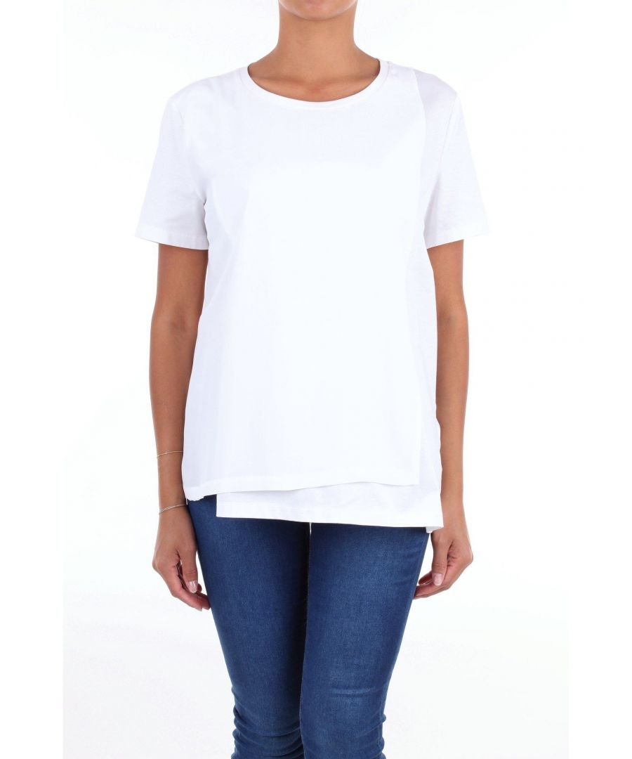 Image for LES COPAINS WOMEN'S 0L9040BIANCO WHITE COTTON T-SHIRT