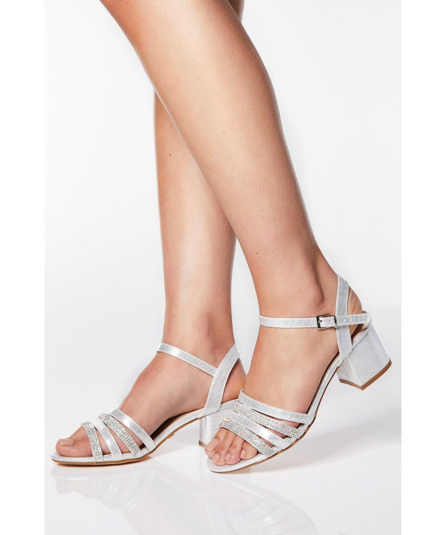 Image for Wide Fit Silver Shimmer Strappy Low Heels