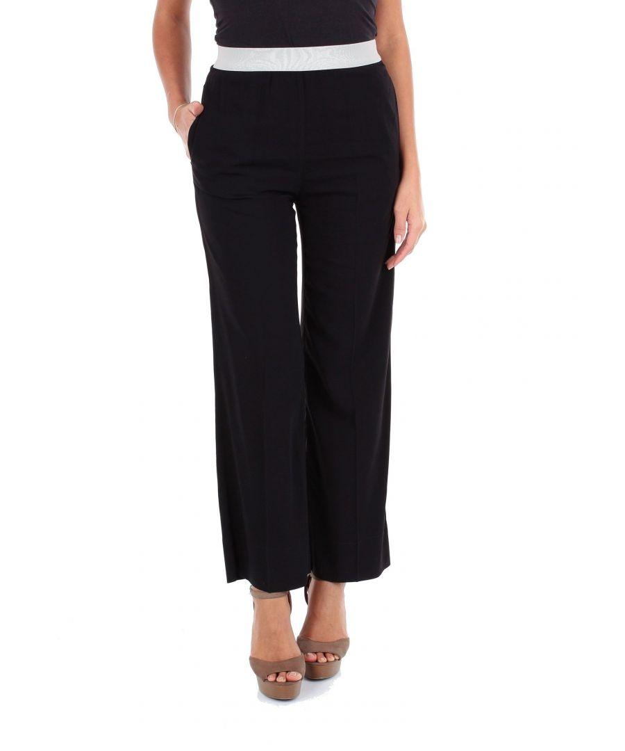 Image for JUCCA WOMEN'S J2914105003 BLACK VISCOSE PANTS
