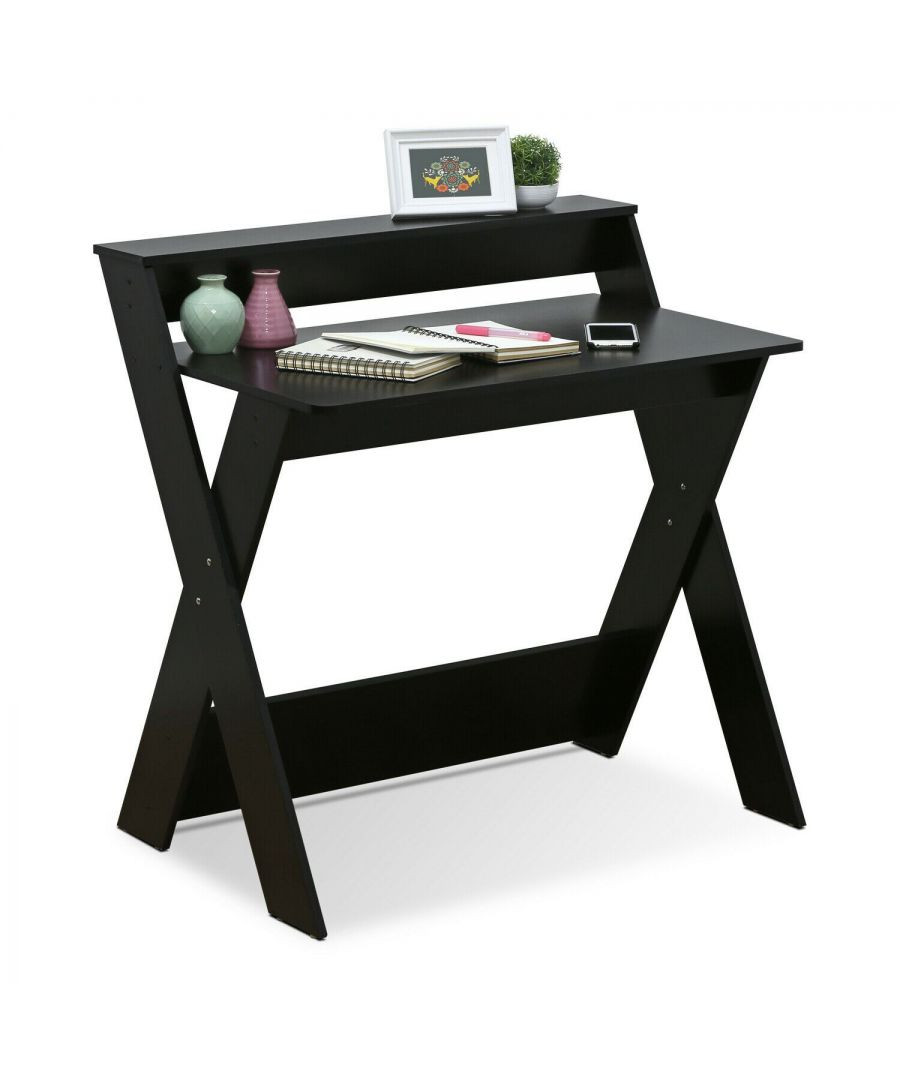 Image for Furinno Modern Simplistic Criss-Crossed Home Office Study Desk - Espresso