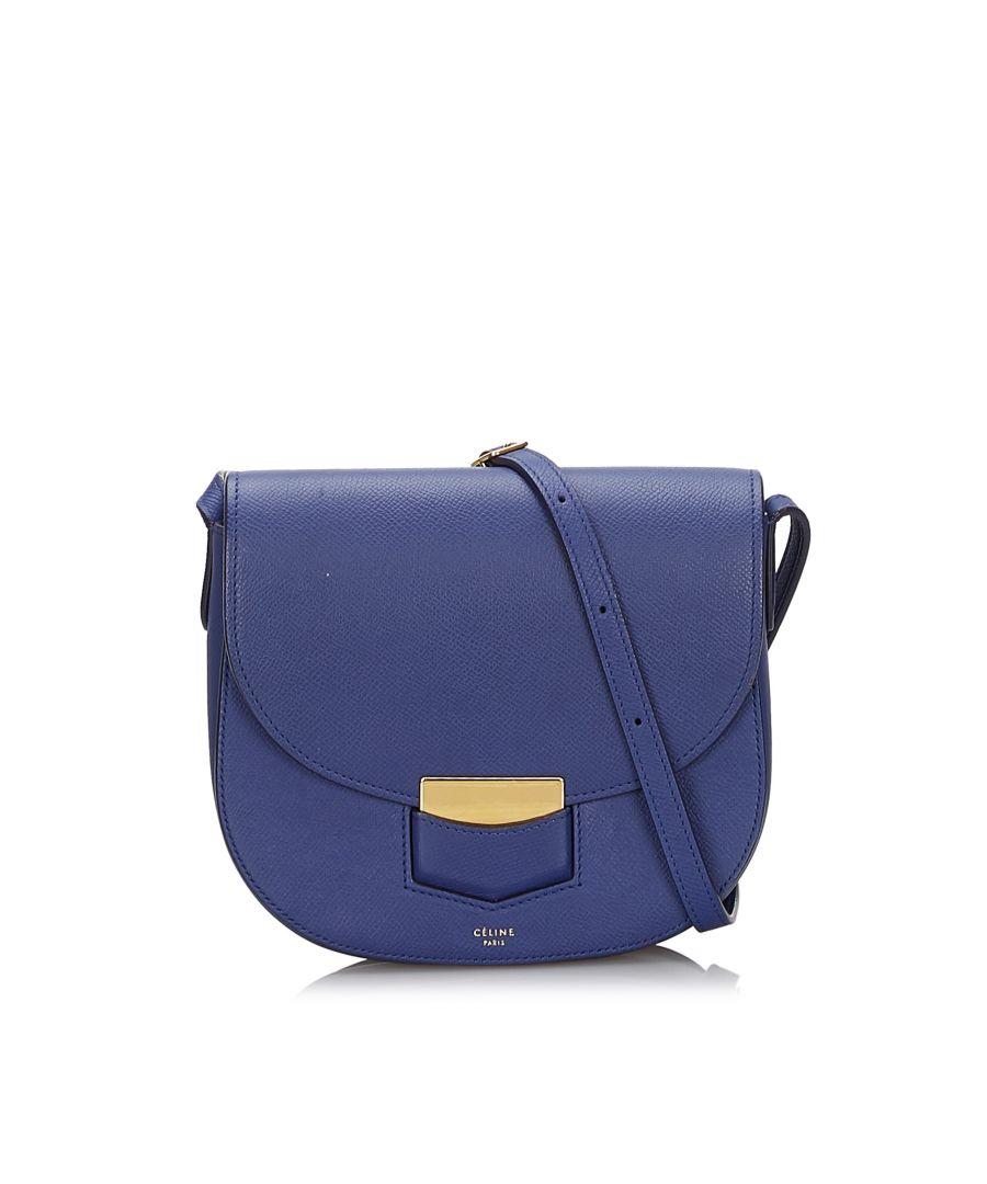 Image for Vintage Celine Small Trotteur Crossbody bag Blue