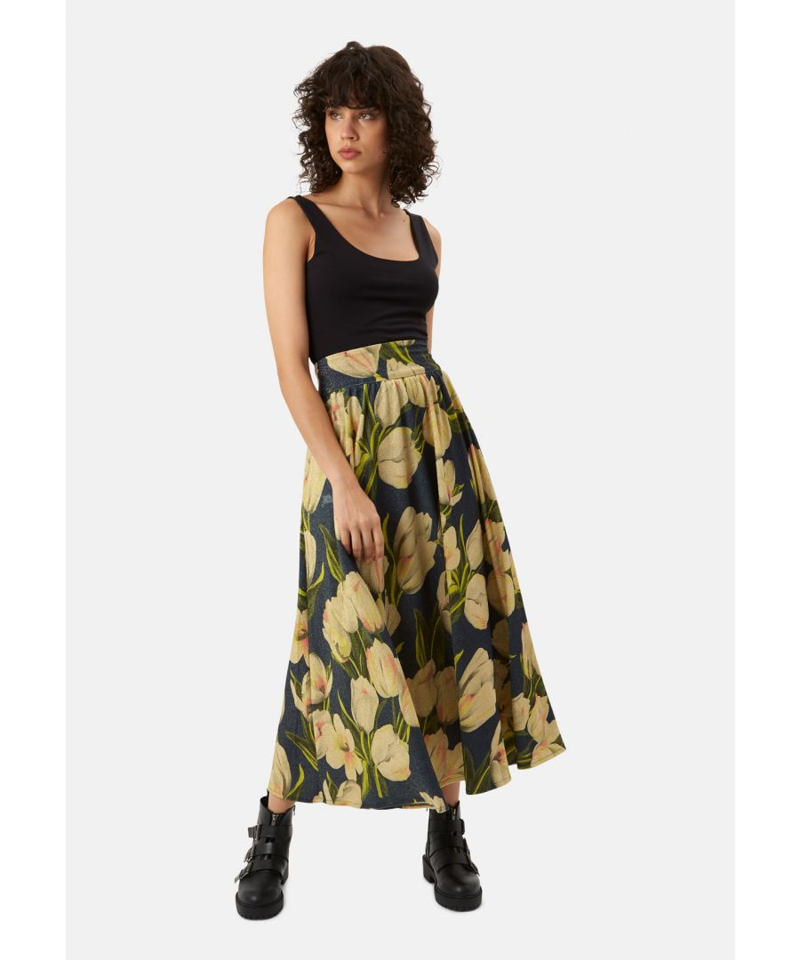 Image for Dior Metallic Maxi Floral Skirt in Blue