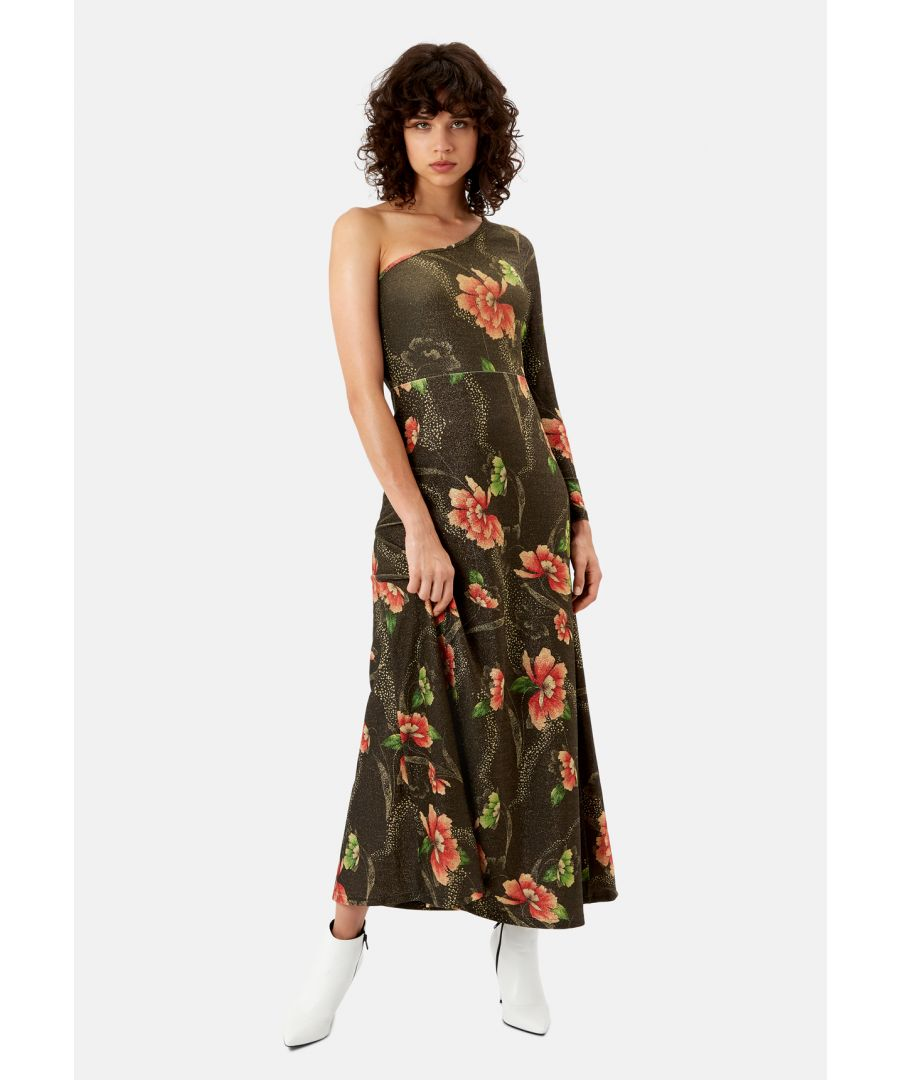 Image for Eunice's Floral Maxi Off the Shoulder Party Dress in Brown