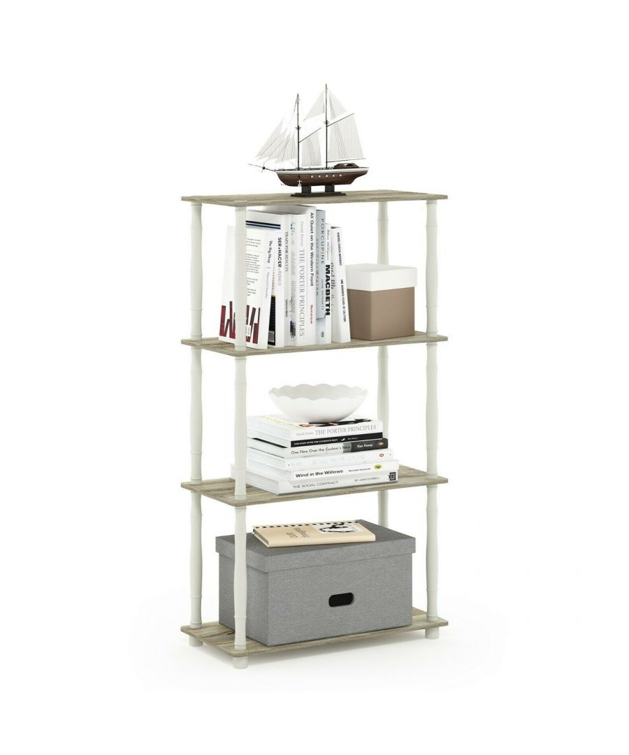 Image for Furinno Turn-N-Tube 4-Tier Multipurpose Shelf Display Rack with Classic Tubes - Sonoma Oak/White