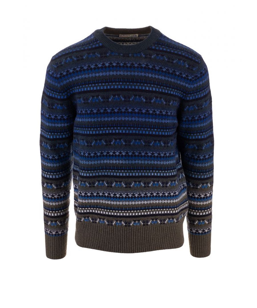 Image for BALLANTYNE MEN'S P2P0007K01592574 BLUE CASHMERE SWEATER