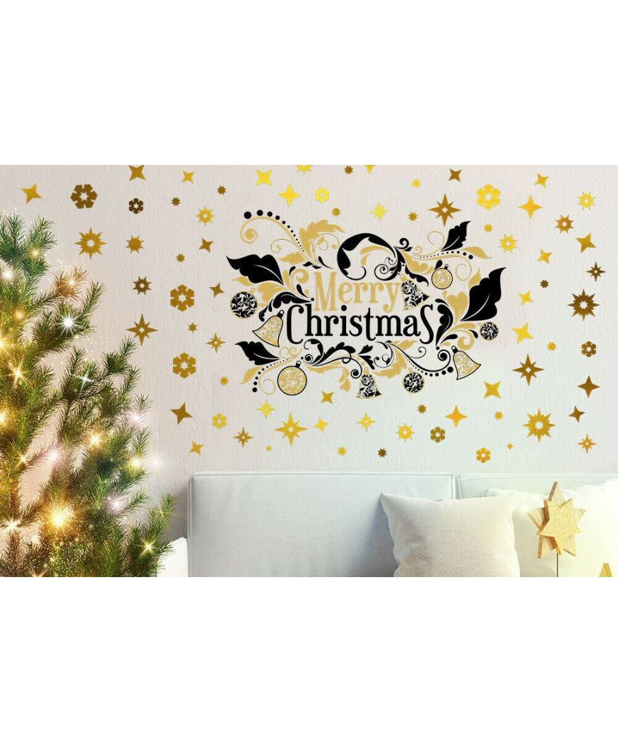 Image for C3W0013 - Bright Merry Christmas with Golden Snowflakes - WS6301 + WS3328x2