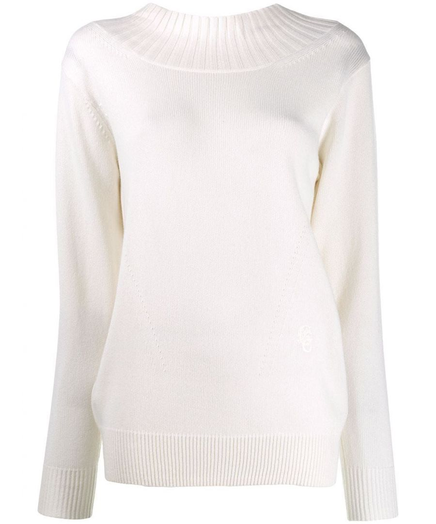 Image for CHLOÉ WOMEN'S CHC19AMP30500101 WHITE CASHMERE SWEATER