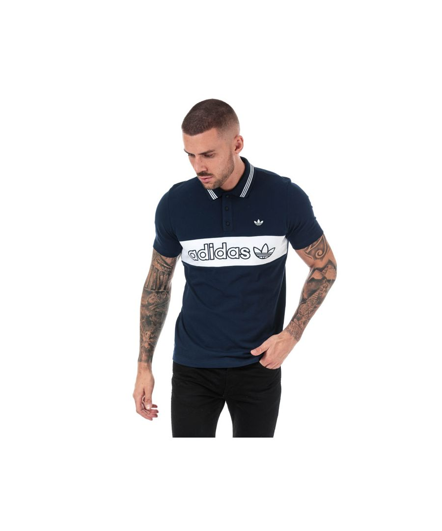Image for Men's adidas Originals Samstag Colourblock Polo in Navy