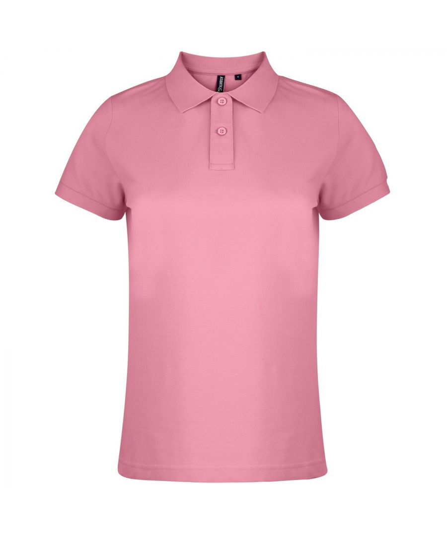 Image for Asquith & Fox Womens/Ladies Plain Short Sleeve Polo Shirt (Pink Carnation)