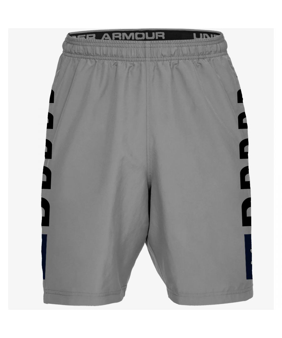 Image for Under Armour Graphic Wordmark Woven Mens Short Grey - L