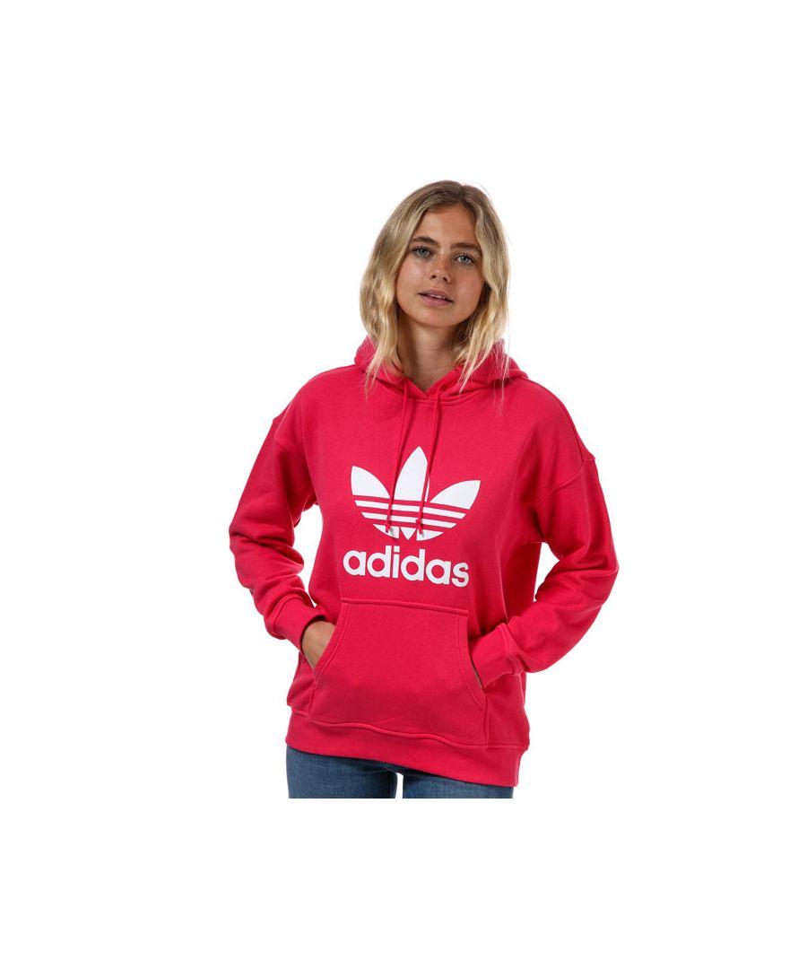 Image for Women's adidas Originals Adicolor Trefoil Hoodie in Pink White