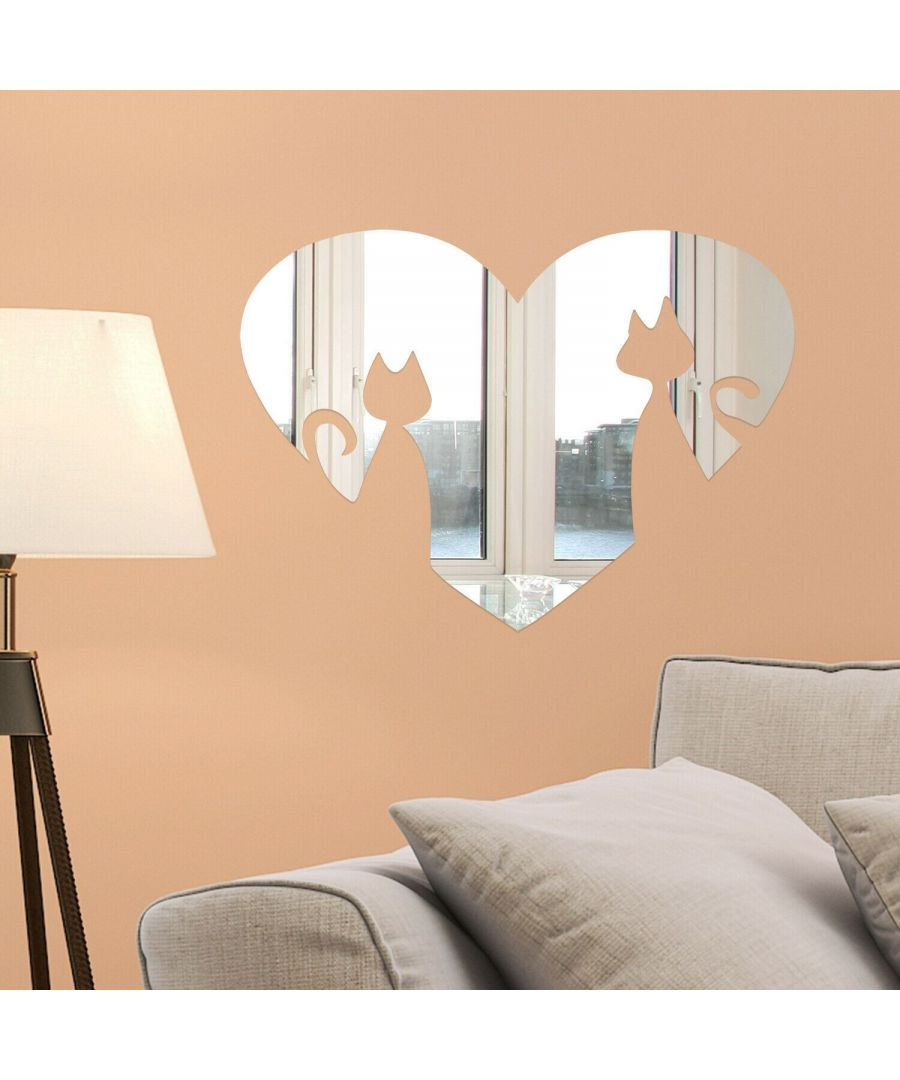 Image for Heart Shape Cats Mirror Wall Art  Self adhesive,DIY Wall Art, Wall Art Living Room, Mirror Wall Art