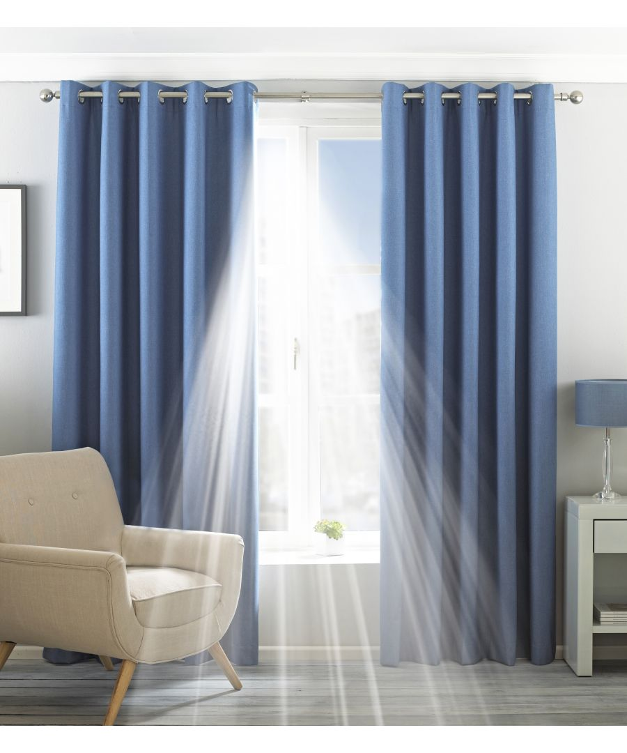 Image for Eclipse Blackout Eyelet Curtains in Denim