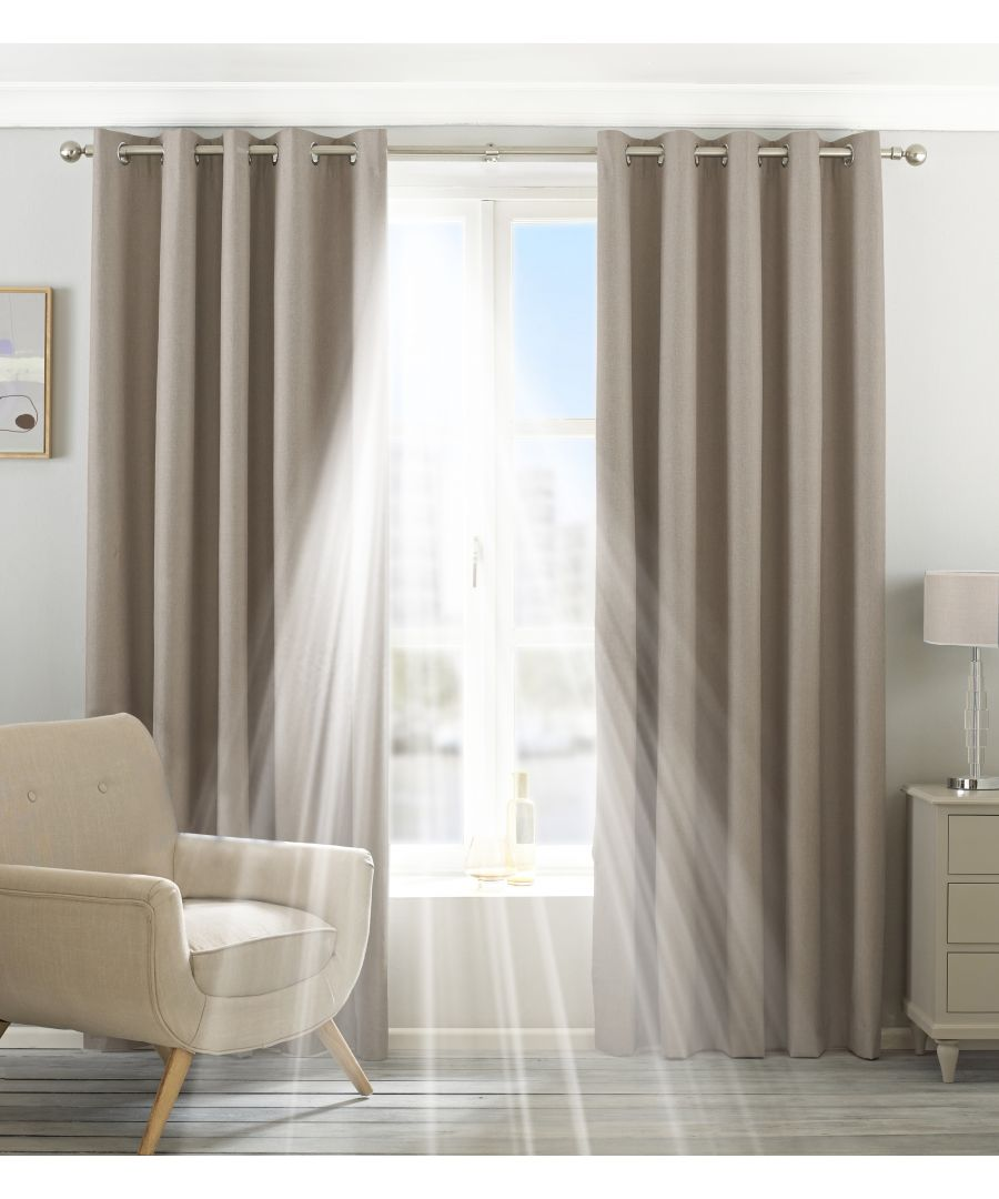 Image for Eclipse Blackout Eyelet Curtains in Natural