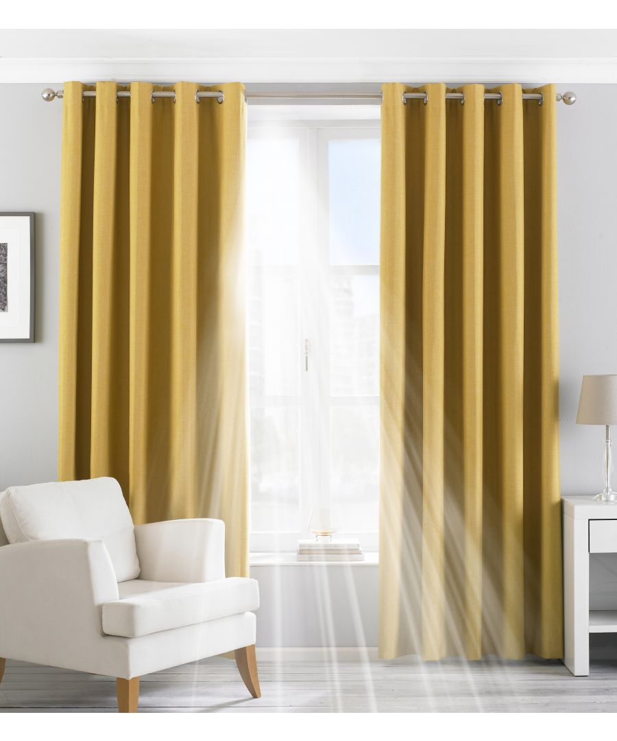 Image for Eclipse Blackout Eyelet Curtains in Ochre