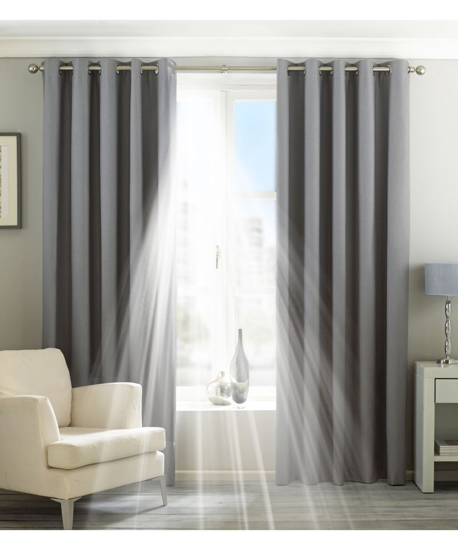 Image for Eclipse Blackout Eyelet Curtains in Silver