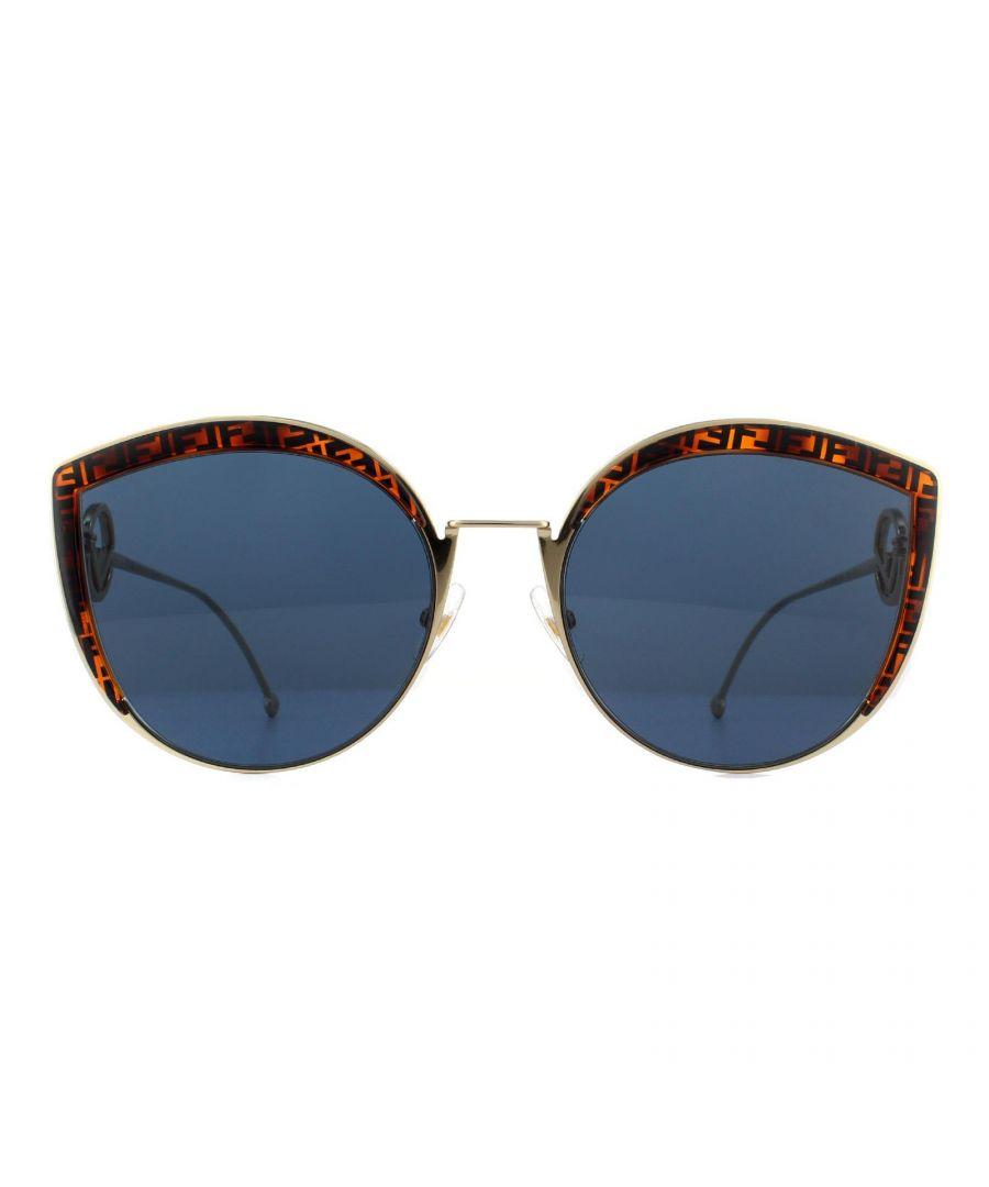 Image for Fendi Sunglasses FF 0290/S J5G KU Gold and Brown Fendi Pattern Blue