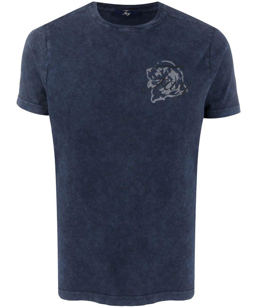 Image for FAY MEN'S NPMB340136TROZU809 BLUE COTTON T-SHIRT