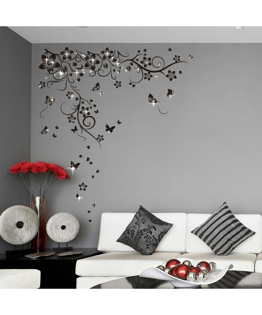 Image for Combo of Walplus New Huge Butterfly Vine +Swarovski Wall Stickers, Kitchen, Bathroom, Living room, Self-adhesive, Decal, Wall Sticker Flowers, Butterflies Decoration