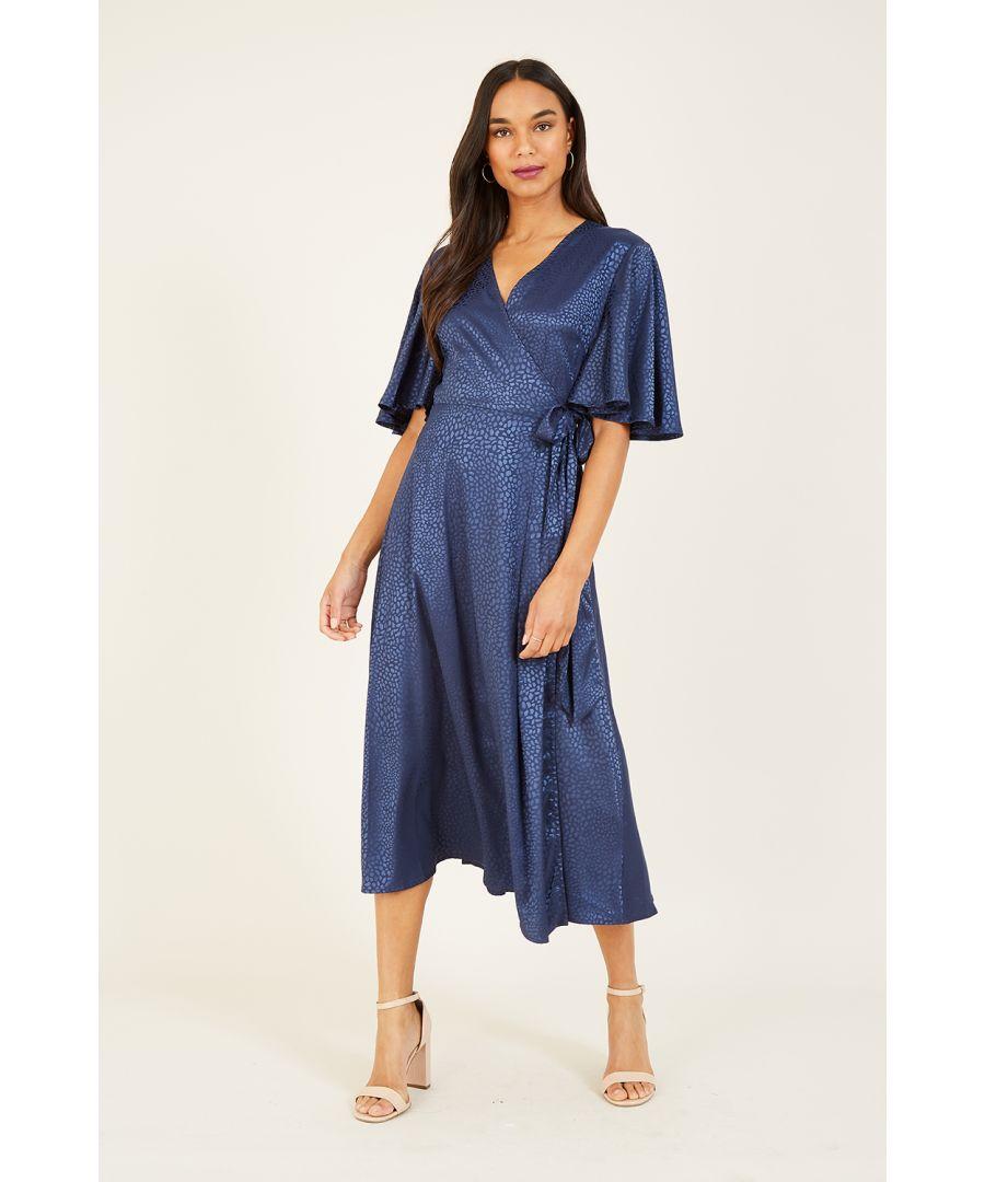 Image for Yumi Navy Animal Wrap Midi Dress