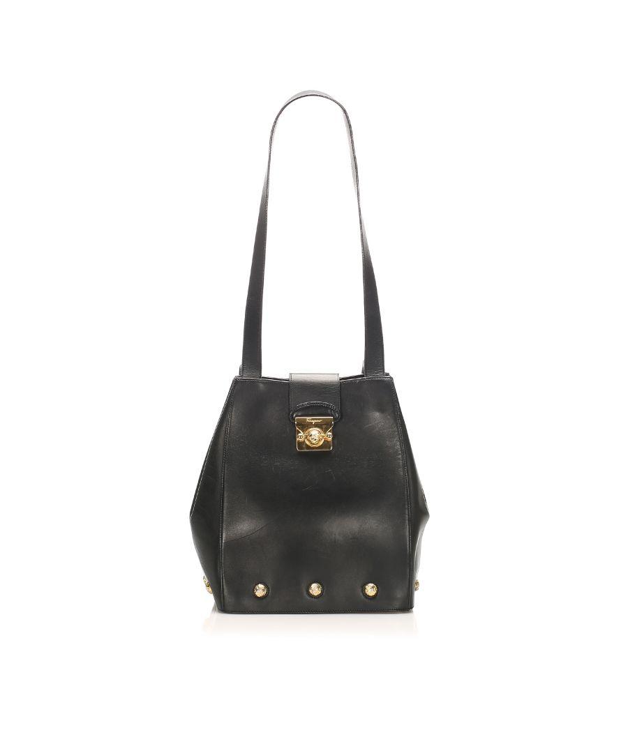 Image for Vintage Ferragamo Gancini Leather Shoulder Bag Black