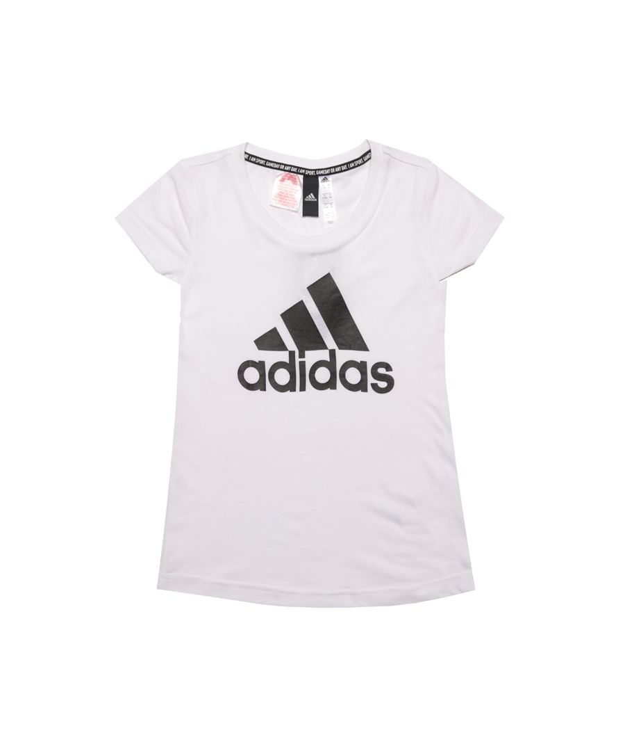Image for Girl's adidas Junior Must Have T-Shirt in White Black