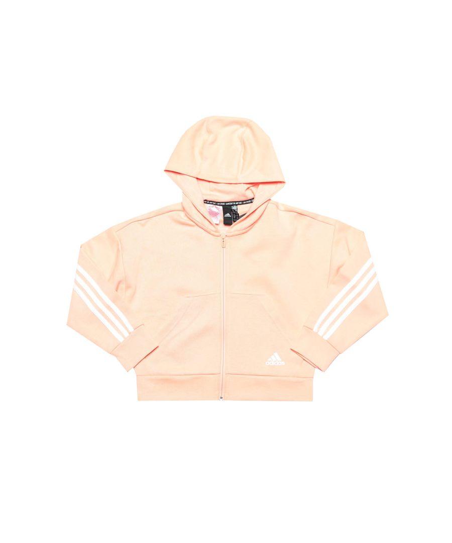 Image for Girl's adidas Junior 3 Stripe Zip Hoody in Pink